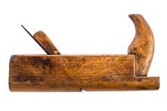 Het oude houten Vliegtuig van het timmermanshulpmiddel op een wit Royalty-vrije Stock Foto's