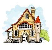 Het oude huis van Fairytale in retro stijl Royalty-vrije Stock Fotografie