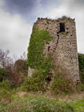 Het oude kasteel, toren blijft Gebarsten neer vallend, Stock Fotografie