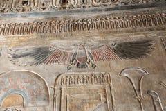 Het oude kleurrijke schilderen op muur bij Egyptische Graven stock foto