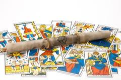 Het oude magische perkament met trekt Royalty-vrije Stock Afbeelding