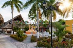 Het oude Mayan dorp Gr Cedral op Cozumel-eiland, Mexico stock afbeelding