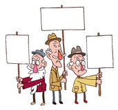 Het oude mens drie protesteren Royalty-vrije Stock Foto's