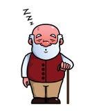 Het oude mens slaap en snurken Royalty-vrije Stock Afbeelding