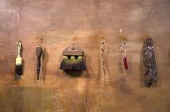 Het oude mes van de hulpmiddelenborstel Stock Afbeeldingen