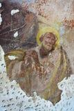 Het oude muurschildering schilderen in de ruïnes van de kerk Stock Afbeeldingen