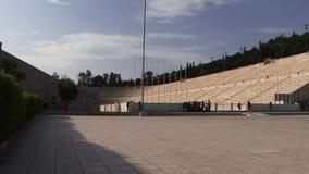 Het oude Olympische stadion van Athene stock video