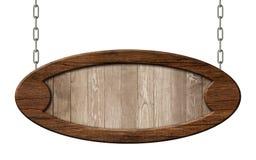 Het oude ovaal voorziet gemaakt van natuurlijk hout met het bruine houten kader hangen op kettingen van wegwijzers vector illustratie