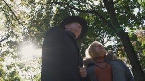 Het oude paar bekijkt omhoog het park stock footage