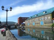 Het Oude Pakhuis langs het Kanaal van Otaru, Oriëntatiepunt van de Stad van Otaru in Japan Royalty-vrije Stock Fotografie