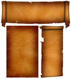 Het oude perkament van de rol en van het blad. Royalty-vrije Stock Afbeeldingen