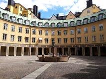 Het oude ronde historische hibuilding in Europese stad, Stockholm, Zweden stock foto