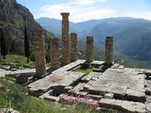 Het oude Ruïnes en Landschap van de Berg dichtbij Delphi Royalty-vrije Stock Foto's