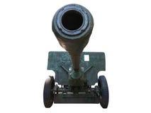 Het oude Russische die kanon van het artilleriekanon over wit wordt geïsoleerd Stock Foto