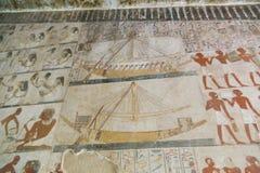 Het oude schilderen op muur bij Egyptische Graven stock foto