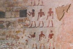 Het oude schilderen op muur bij Egyptische Graven royalty-vrije stock afbeelding
