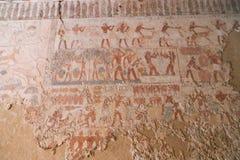 Het oude schilderen op muur bij Egyptische Graven royalty-vrije stock foto