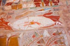 Het oude schilderen op muur bij Egyptische Graven stock foto's
