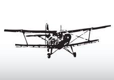 Het oude Silhouet van het Vliegtuig Stock Afbeeldingen