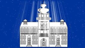 Het oude sprookjekasteel in blizzard, een donkerblauwe achtergrond met lichte stralen, animatie gebruikte een zwart-wit lijnteken stock illustratie