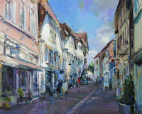Het oude stadslandschap schilderen Stock Foto's