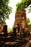 Het oude standbeeld van Boedha bij Mahathat-tempel, historische plaats in Ayuttaya-provincie, Thailand Royalty-vrije Stock Foto's