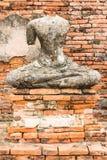 Het oude Standbeeld van Boedha in Wat Chaiwatthanaram Ayutthaya, Thailand Royalty-vrije Stock Afbeelding