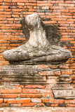 Het oude Standbeeld van Boedha in Wat Chaiwatthanaram Ayutthaya, Thailand Stock Foto's