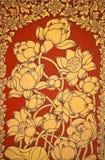 Het oude Thaise de bloem van de Muurschildering schilderen van bloemen 2 Stock Afbeeldingen