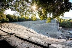 Het oude theater van Epidaurus of ` Epidavros `, de prefectuur van Argolida, Griekenland royalty-vrije stock foto's