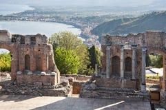 Het oude theater van Taormina Stock Afbeeldingen