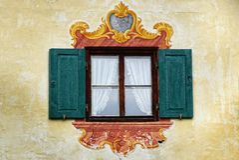 Het oude unieke venster. Oberammergau Stock Afbeelding