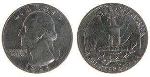 Het oude Versleten Kwart van de V.S. Royalty-vrije Stock Foto's