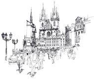 Het oude Vierkant van de Stad, Praag. Schets Stock Foto's