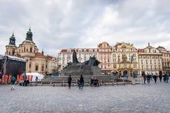 Het oude vierkant van de Stad in Praag, Tsjechische Republiek Stock Foto
