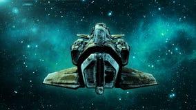 Het oude vreemde ruimteschip in diep ruimte, vuil ruimtevaartuig die in het Heelal met sterren op de achtergrond, 3D UFO achterme royalty-vrije illustratie