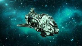 Het oude vreemde ruimteschip in diep ruimte, vuil ruimtevaartuig die in het Heelal met sterren op de achtergrond, 3D UFO vooraanz vector illustratie
