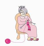 Het oude vrouw breien Stock Foto