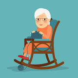 Het oude vrouw breien Royalty-vrije Stock Afbeelding