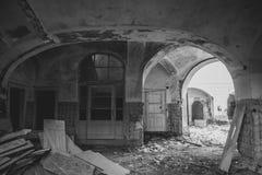 Het oude ziekenhuis in ruïnes Stock Foto's