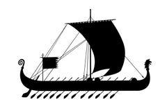 het oude zwarte silhouet van schipGriekenland Stock Afbeeldingen