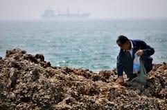 Het oudere mens voederen, Qingdao, China royalty-vrije stock fotografie