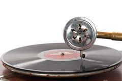 Het ouderwetse grammofoon spelen Royalty-vrije Stock Afbeeldingen