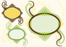 Het ovale Frame met bloeit - Drie Variaties Royalty-vrije Stock Afbeeldingen