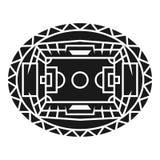 Het ovale pictogram van de stadion hoogste mening, eenvoudige stijl stock illustratie
