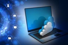 Het overbrengen van informatie naar een server van het wolkennetwerk Stock Foto's