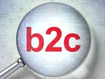 Het overdrijven van optisch glas met woorden b2c op digitaal Stock Afbeelding