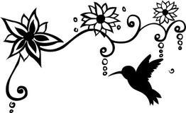 Het Overdrukplaatje Vectorillustratie van de vogel Bloemenmuur Royalty-vrije Stock Afbeelding