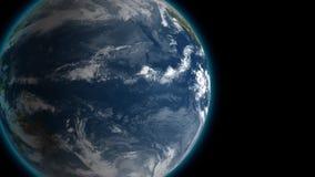 Het overgaan door mooie roterende aarde en zich langzaam het verwijderen met sterren in ruimte Volledige HD-lengte Elementen van royalty-vrije illustratie