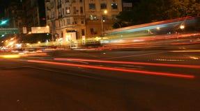 Het overgaan van verkeer, vage achterlichten Royalty-vrije Stock Fotografie